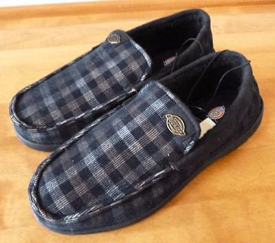 Mens DICKIES Memory Foam Slip On Slippers Size 9 13 Black Checks TPR Outsole NWT