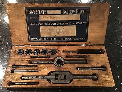Antique Bay State Machinist Tap & Die Tool Set #26A Vintage Wood Case Rare