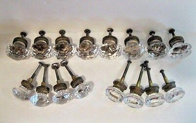 Clear Glass Faceted Knobs Drawer Pulls Matching Lot Of 16 & Hardware  Vintage