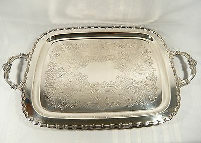 Large BIRKS PRIMROSE Silverplate TRAY 24 x 15 3/8  Scallop Border Shell handle