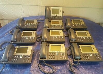 Lot of 10 Cisco CP-7940G 7940 VOIP/IP Phones w/Handsets and Cords