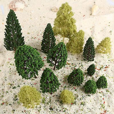 27pcs(12 Aspen+10 Tower+5 Poplar) Model Miniature Trees Train Landscape Scenery