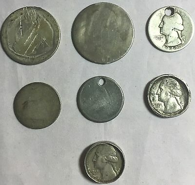 Lot Of 7 Us Quarters And Half Dollars Coins: Filler Lot