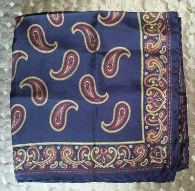 Silk Pocket Square Handkerchief Navy with Classic Paisley Print Handcraft ITALY
