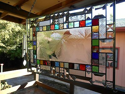 Multi Colored Stained Glass Panel Window with textured clears and bevels