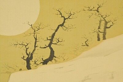 """Hanging Scroll 78"""" Japanese Painting Moon Waterfall Japan Antique Picture b579"""