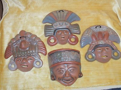 4 Hanhcrafted Mexican Clay Masks / New