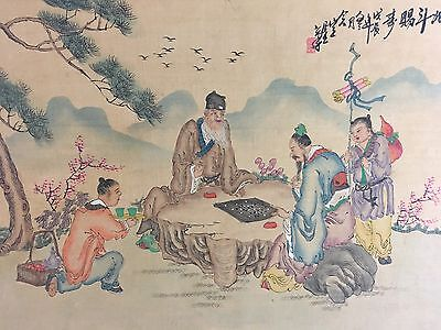 Vintage Japanese Chinese GO Game Scene Woodblock Print Beautiful Details.