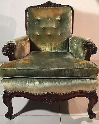 Rare Louis XV Carved Lions Head Bergere French Arm Chair Queen Anne RJ Horner