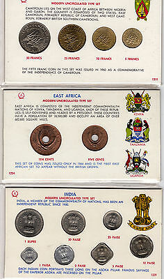 Mint type sets of India, East Africa and Cameroun (3)