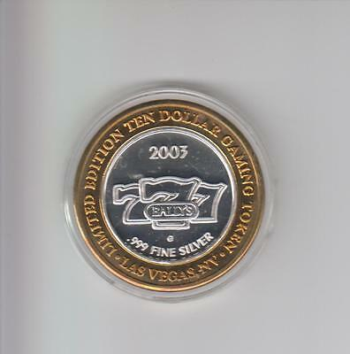 Bally's Casino .999 Fine Silver Limited Edition Gaming Token
