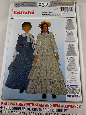 Burda 2768 1848 Southern Belle Civil War Dress Gown Pattern Sizes 10-26 UNcut FF