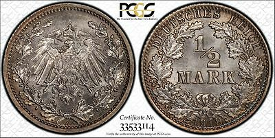 Germany 1918-A 1/2 Mark, PCGS MS66, gorgeous, steel-gray toning