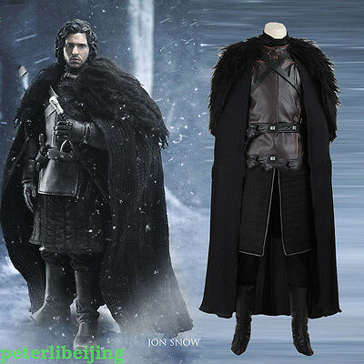 Halloween High quality COOL  Game of Thrones Costume Jon Snow Cosplay  Costume
