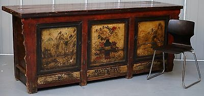 Shanxi Province Circa 19Th Century Chinese Hand Painted Red Lacquered Sideboard