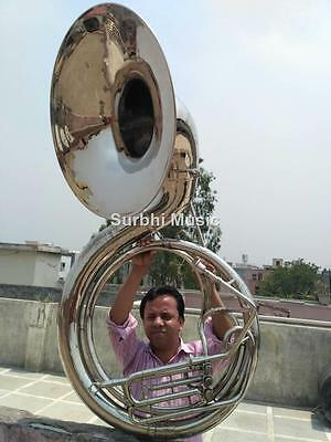 """Sousaphone 25"""" Bell jumbo Size in Silver Chrome Polish With Free Case & Mouthpc."""
