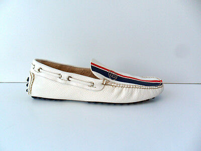 """Loafers Man Car Shoe white leather logo""""63"""""""