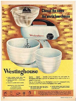 Original Australian WESTINGHOUSE KITCHEN FOOD MIXER AD 1954 Vintage Print Ad