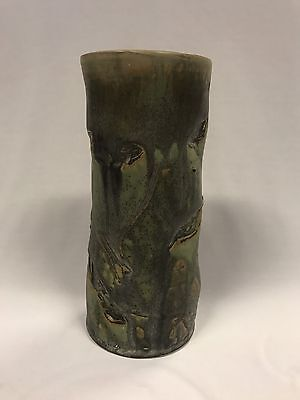Australian Pottery Kevin Boyd Vase  Leave Decorations Signed & Stamped To Base