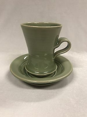 Australian Pottery Arnaud Barraud Green Glazed Cup & Saucer Stamped To Base