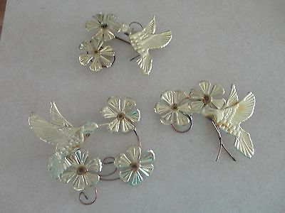 Home Interiors 3pc Set Brass '' Hummingbirds & Flowers ''  Wall Accent