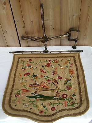 Antique Georgian/Victorian Embroidered Face Fire Screen on Gilded Metal Bracket