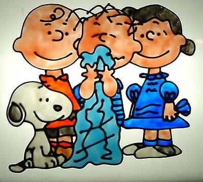 The Peanuts Gang Faux Stained Glass Window Cling