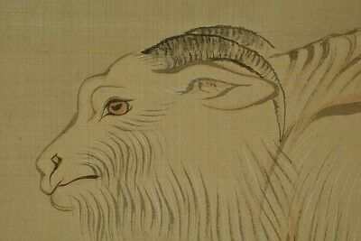 Hanging Scroll Japanese Painting goat Mushroom Asian Japan Old ink Picture z58