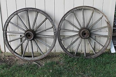 "Pair of Vintage Antique 44"" 14 Spoke Wagon Wheel with Cast Iron Ring - VGC"