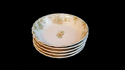 """5 Cereal Bowls 6 1/8"""" Haviland Limoges France The Countess Pattern"""