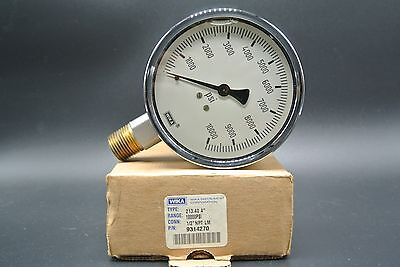 Wika 9314270 Hydraulic Gauge,10000 psi, 4 in Face, Lower Mount (LM), 1/2 NPT in