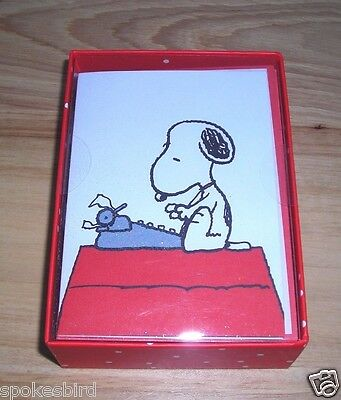 New ~ Snoopy Literary Ace 16 Blank Small Boxed Note Cards ~ Author Writer Novel