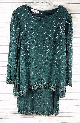 Silhouettes Womens Evening Outfit Skirt Top Green Sequin Bead Silk Plus Size 18