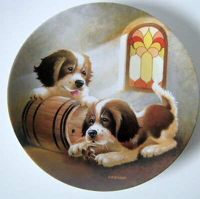 "993 Knowles It's A Dog's Life ""Barreling Along"" Collector Plate by Lynn Kaatz"