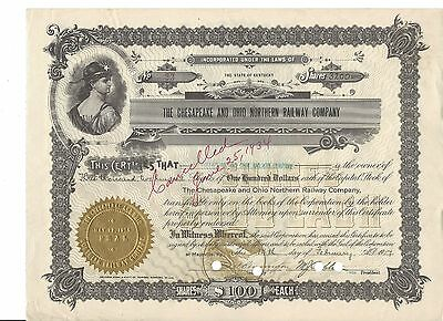 The Chesapeake and Ohio Northern Railway Stock Certificate-3200 Shares