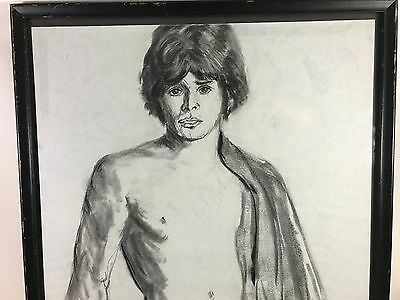 Vintage Pencil Charcoal Sketch Etching Signed 1977 Male Model Nude Drawing