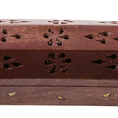 Traditional Wooden Hollow Out Incense Stick&Cone Ash Holder Storage Box Case