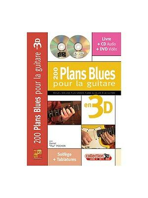 200 Plans Blues pour la Guitare en 3D Learn to Play MUSIC BOOK & CD Guitar Tab