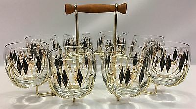 Vintage Federal Glass Black Diamond Roly Poly Whisky Glass Bar Set With Rack MCM