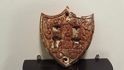 Antique Cast? McClary's Furnaces Stove Door Emblem Ornate Steampunk Shield Shape