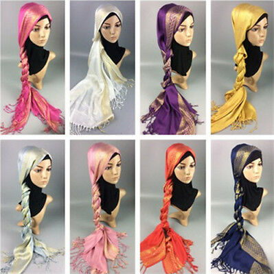 Muslim Women Cotton Tassel Long Hijab Shawls Scarf Scarves Wrap Headwear Hats