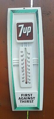 Vintage 7Up Hard Plastic Moldded Thermometer advertising sign