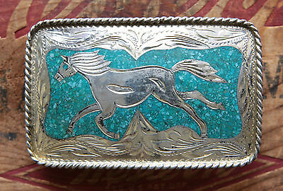 Vtg Sterling Silver Turquoise Inlay Running Horse Cowboy Western Belt Buckle