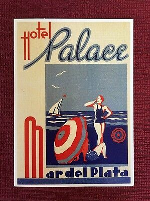Repro of Vintage Luggage Label Sticker Tag Hotel Palace Mar Del Plata