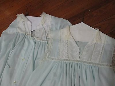 Vintage Christian Dior  LACY NEGLIGEE NIGHTGOWN & ROBE set Blue Small