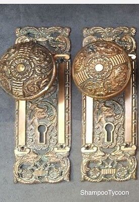 Antique Pair of Rare Portulaca Penn Hardware Door Knobs And Plates Circa-1890s
