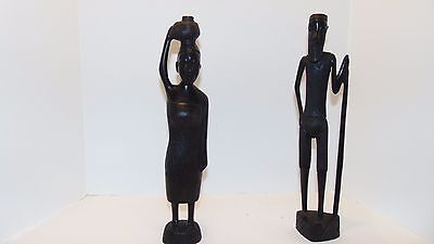 African Carved Wooden Statue Old Man  & woman Ebony Wood