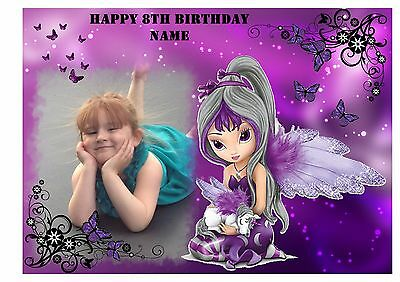 Magical Fairy & Unicorn  Own Personalised Photo Edible Birthday Cake Topper A4