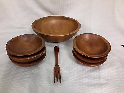 22 Woodcroftery Made in America 9 piece Wood Salad Set