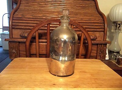 Antique Large Apothecary  Mercury Glass Bottle with ground glass stopper